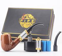 atomizador fumando pipas al por mayor-E-Cigarette ePipe 618 Kit 618 E-PIPE Starter Kit E pipe 618 pipa electrónica para fumar con mod de madera 2.5ml atomizador 18350 batería
