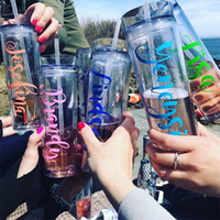 Wholesale personalized tumbler resale online - 16 oz Personalized Acrylic Tumbler With Lids and Straws BPA Free Plastic Skinny Tumbler Double Wall Cups Shipping Ocean