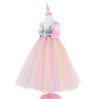 Wholesale halloween costumes for girl child for sale - Group buy Girls Rainbow unicorn sleeveless pink lace tutu skirt child Party Costume For Kids girl dresses Y