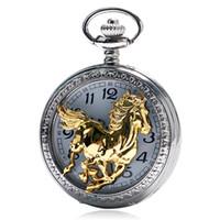 relógio de bolso do zodíaco venda por atacado-Presente do estilo chinês Zodíaco Correndo Cavalo Dourado Padrão Pocket Watch Homens Mulheres