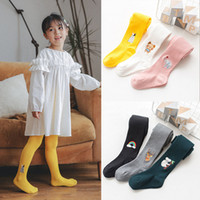 Wholesale kids pant embroidery resale online - Girl Pantyhose Cartoon Embroidery Solid Elastic Skinny Keep Warm Pants Baby Kids Clothes Girls Dance Pants T