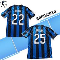 camisa do futebol do jogo venda por atacado-2009 2010 Retro Inter 22 MILITO azul Futebol Finals jogo da liga 4 J.ZANETTI 10 de futebol clássico Sneijder Shirts BAGGIO Football Jersey