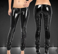 Wholesale pants fasion resale online - Fasion black sexy Buttocks U fork zipper skinny women casual pants DS Acting SuperCool tights Full Length Pencil Pants