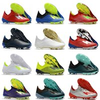 Wholesale 2019 Hot New X FG Mens Soccer Football Shoes Salah Jesus x SKELETALWEAVE Soccer Boots Soccer Cleats Size US6
