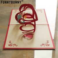 Wholesale pop up card heart 3d for sale - Group buy FUNNYBUNNY Handmade D Pop Up Love Heart Birthday Cards Creative Greeting Cards Papercraft Love Heart