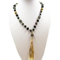 большие бисерные ожерелья оптовых-Большое ожерелье из хрусталя с позолотой и цепочкой