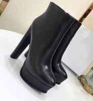 2019 tacón grueso tobillo de la plataforma botas marrones de gamuza Negro Borgoña cortocircuito de la cremallera de la motocicleta botines zapatos de