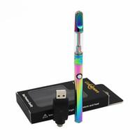 için en iyi vape kalemleri toptan satış-En iyi kalite Gökkuşağı Altın Renk Vape Kalemler Başlangıç Kitleri Balmumu Yağı Seramik Bobin Tankı Ön Isıtma 350 mAh 510 Konu Değişken Gerilim