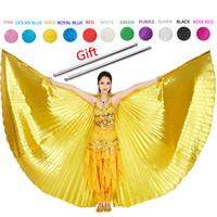 flügel für kostüme großhandel-2019 Bauchtanz Isis Wings Bauchtanz Zubehör Bollywood Oriental Egypt Egyptian Wings Kostüm Mit Sticks Erwachsene Frauen Gold