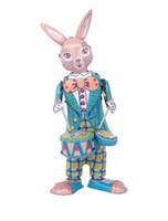 schlagzeug spielen großhandel-[TOP] Klassische Sammlung Retro Clockwork Happy Bunny Rabbit Wickeln Metall Walking Tin Spieltrommel Kaninchen Roboter Mechanisches Spielzeug