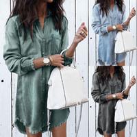 ab797b50ac Wholesale ladies denim shirt online - 2019 Women Long Sleeve Loose Denim  Shirts Dress Fashion Summer