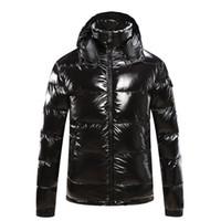 erkekler için asian ceketler toptan satış-Erkek Tasarımcı Ceket Kapşonlu Sonbahar Kış Rüzgarlık Ceket Aşağı Kalın Lüks Hoodie Dış Giyim Aydınlık Ceketler Asya Boyutu erkek Giyim