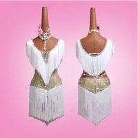 weiße tanzkleider für mädchen großhandel-2019 NEUE Erwachsene / Mädchen Latin Dance Kleid Frauen Salsa Tango Chacha Ballsaal Wettbewerb Tanzkleid Kind Weiß Strass Quaste Kleid