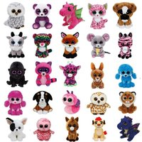 baykuş oyuncakları toptan satış-Ty Bere Boos Unicorn Maymun Büyük gözler Peluş Bebek Oyuncak Kız Tavşan Tilki Sevimli Hayvan Baykuş Kedi Böceği SSA36