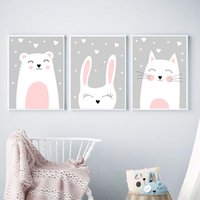 Wholesale girl cat painting for sale - Group buy Baby Nursery Wall Art Pink Cat Bear Prints and Posters Kids Girl Room Canvas Painting Picture Nordic Decorative Picture