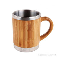 Wholesale bamboo mugs resale online - Stainless Steel Bamboo Coffee Mugs with Handle and Lids Camping Coffee Mugs Eco Friendly Insulated Coffee Tea Travel Mugs