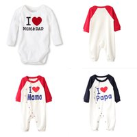 Wholesale baby romper i love resale online - Newborn Baby Letters Rompers Long Sleeve O neck Buttons I Love MOM DAD Onesies Baby Printed I Love MAMA Funny Words Infant Romper M