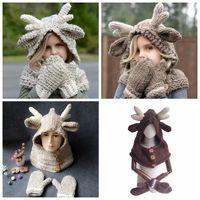 Wholesale grey scarf hat set for sale - Group buy Elk Hooded Hat Scarf Gloves in Baby Warm Knitting Caps Christmas Gift kids Hat Glove Set Crocket Hat sets OOA5988
