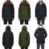 parka chaqueta hombres negro al por mayor-2020 Canadá Langfordo invierno abajo chaqueta caliente parkas Azul marino negro rojo chaqueta chaquetas de los hombres de las mujeres de invierno abrigo de plumas Capa Caliente