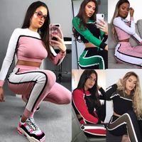tops de yoga al por mayor-Mujeres con paneles Slim Fit Athletic Chándal Crop Top Tops y pantalones de manga larga Mujer Yoga Chándales