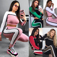 Wholesale fitted yoga pants resale online - Womens Panelled Slim Fit Athletic Tracksuit Crop Top Long Sleeve Tops and Pants Female Yoga Tracksuits