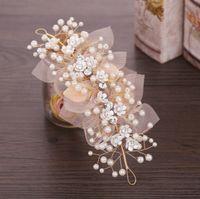 Wholesale bridal head pins resale online - Champagne Bridal Flower Hair Ornaments Hairwear Wedding Hair Accessories for Women Girl Headpiece Headdress Head Decoration Pin