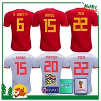 uniformes de fútbol de ventas al por mayor-2018 camiseta de fútbol de local de España Jersey de local de fútbol camiseta de fútbol de España de España 2019 mujeres ASENSIO MORATA ISCO A.INIESTA Venta de uniformes de fútbol