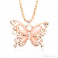 ingrosso collana opalina della farfalla-Maglione Collana in Oro catena dell'oro Splendidamente collana di modo della Rosa placcato Opal farfalla regalo della catena della collana di fascino della farfalla