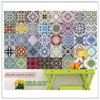 decoração de azulejos de parede de cozinha venda por atacado-Lote De 10 Pcs Estilo Mediterrâneo Autoadesivo Telha Art Decalque Adesivo de Parede Diy Cozinha Banheiro Home Decor Vinil Um