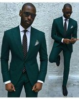 Wholesale mens party wear images resale online - Hot Fashion Green Tuxedos Wedding Suits Pieces Mens Suits Slim Fit Groomsmen Jacket With Pants Groom Wear Formal Wedding Party Tuxedos