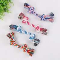 Wholesale molar bone resale online - Pet dog bite rope toy cotton colorful durable molars woven double bone rope funny dog and cat toy
