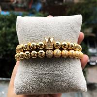 brazaletes de macramé al por mayor-2 unids / set Hombres Pulseras Coronas Pulseras conjunto Pavimentado blanco CZ bola Charm perla de cobre Macrame brazaletes hechos a mano para los hombres joyería