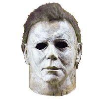 ingrosso maschere mezze mascherate in bianco-Michael Myers Mask Halloween Horror Movie Cosplay Adulto in lattice Casco integrale Halloween Party Spaventoso puntelli