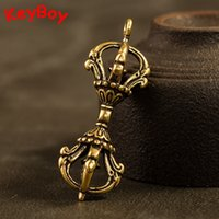 Wholesale vintage car gifts resale online - Vintage Copper Tibet Buddhism Pestle Vajra Keychain Pendants Decorations Brass Portable Car Key Chain Ring Hanging Jewelry Gifts