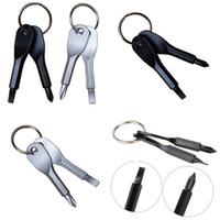 çok fonksiyonlu halka toptan satış-Tornavidalar Anahtarlık Paslanmaz Çelik Mini EDC İşlevli Tornavida Anahtar Şekil Anahtarlık ile Oluklu Cep Onarım Aracı