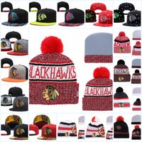 ingrosso beanies di blackhawks-Cappellino regolabile Chicago Blackhawks Snapback Caps Nero bianco rosso grigio Chicago Black hawks Berretto a maglia berretti Cappellini