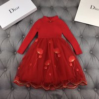Wholesale beach style evening dresses resale online - Girl dress children designer clothing new fashion Chinese style collar dress skirt swing exquisite embroidery girl evening dress