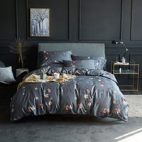 Wholesale beautiful king size bedding for sale - TUTUBIRD Luxury Egyptain cotton bedding set Gray Pastoral Style beautiful floral duvet covers bedclothes queen king size