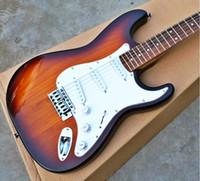 cor mais vendida da guitarra venda por atacado-Venda de Alta qualidade mais barato FDST-1020 3TS cor sólida madeira paulownia rosewood fretboard Stratocaster guitarra elétrica, frete grátis