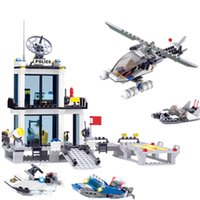 Wholesale plastic toy boats for kids for sale - Group buy 536 Police Station Building Blocks Helicopter Boat Model Building Toys Diy Bricks Toys Blocks Toys For Children Kids Gift MX190730