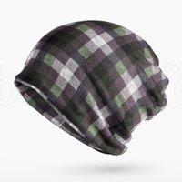 beanies da moda feminina venda por atacado-chapéu xadrez clássico feminino moda inverno Gorros Chapéu feminino Dois usado Cap Scarf Hat Malha óssea Quente Skullies Gorros 9 cores LJJK1874