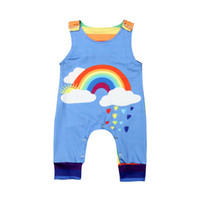 радужные детские костюмы оптовых-2019 Canis Summer Kids Baby Boy Clothes Rainbow Romper Jumpsuit Overall Outfit Summer Suit Clothing Dropshipping