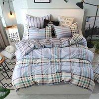 hojas a cuadros grises al por mayor-Conjuntos de ropa de cama de lado A + B Gris gris Plaid Juego de funda nórdica con sábanas planas Funda de almohada, King Twin Full Queen Size 100% poliéster
