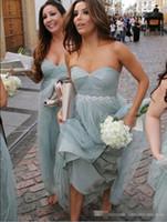 Wholesale long train beach wedding dresses for sale - Best Sale Dusty Blue A Line Sweetheart Tulle Bridesmaid Dresses With Belt Floor Length Ruched Long Style Beach Wedding Guest Dresses