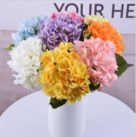 Wholesale artificial hydrangea plants resale online - Artificial Hydrangea Flower Fake Single Wedding Party Hydrangea Bouquet Faux Floral Flowers Plants flower color KKA6759