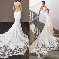 Wholesale beaded spaghetti strap mermaid dress for sale - Group buy Stunning Goegeous White Lace Wedding Dresses with Spaghetti Straps Mermaid Applique Sequin Beaded Court Train Bridal Gowns Plus size