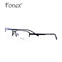 очки с половинной рамкой по рецепту оптовых-Titanium Glasses Frame Men Ultralight  Designer Eyeglasses Male High Quality Square Half Optical Frame Prescription Eyewear