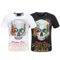 camisa de diamante de crânio venda por atacado-Homens Crânio T-shirt de design de diamante de luxo camiseta moda t-shirt dos homens camisetas engraçadas e tops tops de algodão