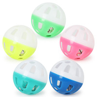 Wholesale small balls resale online - Pet Toys Hollow Plastic Pet Cat Colourful Ball Toy With Small Bell Lovable Bell Voice Plastic Interactive Ball Tinkle Puppy Playing Toys