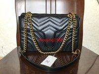 siyah kadın modası toptan satış-Kadın omuz çantaları kadın zincir çanta crossbody çanta moda 26 CM Siyah deri çanta kadın çanta çanta